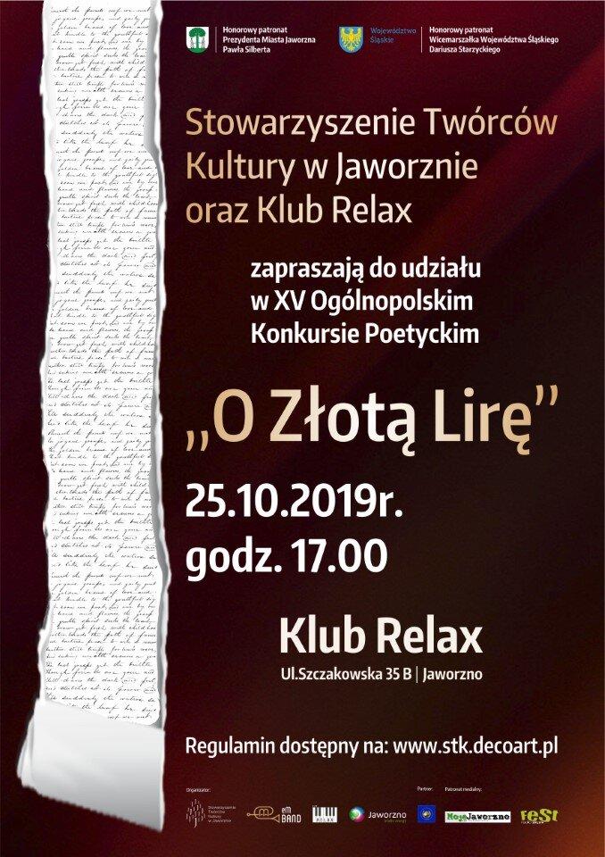 Plakat Złota Lira 2019 PatronatyFest 2