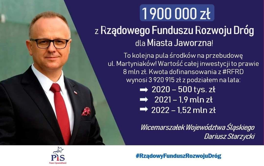 Prawie dwa miliony dla Jaworzna z Rządowego Funduszu Rozwoju Dróg